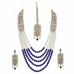CATALYST Traditional Stone and Pearl Long Necklace Set With Earrings for Women (Blue)