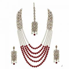 CATALYST Traditional Stone and Pearl Long Necklace Set With Earrings for Women (Maroon)