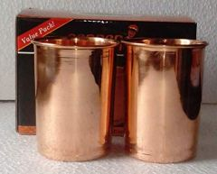 Pure Copper Glasses Tumbler Ayurveda Healing Organic Life Drinkware For Puja And Multipurpose Use (Pack of 2)