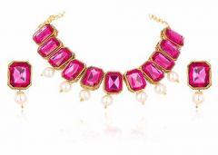 CATALYST Gold Plated Stylish Stones Studded Necklace Set With Earring For Womens (Pink)