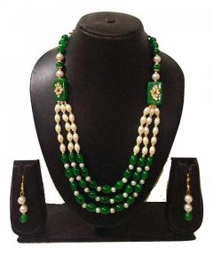 CATALYST Indian Beauties Designer Gold-Plated Bead Necklace Set For Girls and Women (Green)