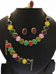 CATALYST Gold Plated Stylish Stones Studded Necklace Set, Bracelet, Finger Ring For Womens (Multi-Color)
