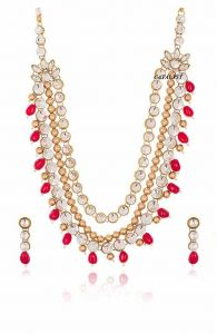 CATALYST 3 Layer Pearl Necklace Jewellery Set With Earrings For Women (Red & White)