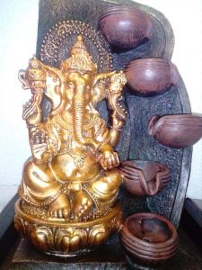 Exotic Premium Golden Lord Ganesha Fountain Puja Religious For Diwali Home Decor (Pack of 1)