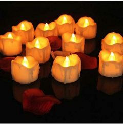 Christmas Diwali Decoration Smokeless Flameless Yellow Led Decorative Diya Candles With Replaceable Battery (Pack of 6)