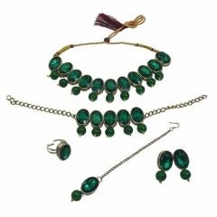 CATALYST Gold Plated Oval Stones Studded Necklace Set, Bracelet, Finger Ring For Womens (Dark Green)