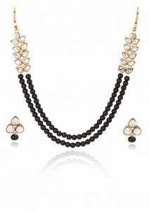 CATALYST Pearl Party Wear Necklace Set With Earrings For Women (Black)