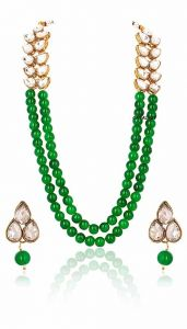 CATALYST Pearl Party Wear Necklace Set With Earrings For Women (Green)