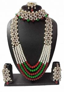 CATALYST Traditional Kundan Multi-Layer Designer Gold Plated Necklace, Maang Tikka With Earrings For Women and Girls (Multi-Color)