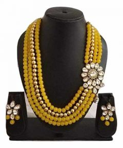 CATALYST 4 Layer Pearl and Stone Necklace Jewellery Set With Earrings For Women (Yellow)