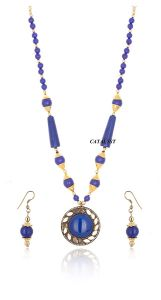 CATALYST Gold Plated Tibetan Stone Beads Necklace Set With Earrings For Women & Girls (Blue)