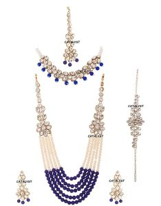 CATALYST Stone and Pearl Long Necklace Set With Earrings Maang, Tikka & Bracelet For Women (Blue)