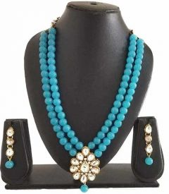 CATALYST Stylish and Designer Pearl Necklace Jewellery Set With Earrings For Women (Sky Blue)