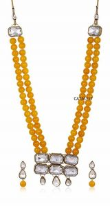 CATALYST Designer and Stylish Faux Pearl Necklace Jewellery Set With Earrings For Womens (Yellow)