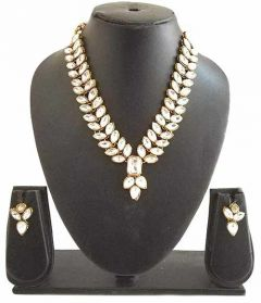 CATALYST Gold Plated Bollywood & Traditional Stylish Stones Necklace Set For Women & Girls (Golden)