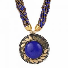 CATALYST Trendy Fashionable Necklace With Earring Set Navratri Jewellery Set For Womens and Girls (Blue)