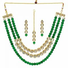 CATALYST-Rajasthani Kundan Beads Necklace Set With Earrings for Women & Girls (Pack of 1)