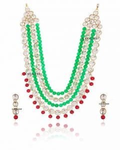 CATALYST Beautiful Pearl & Kundan Necklace Set With Earring For Women (Green) (Pack of 1)