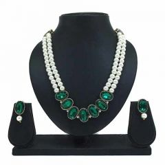 CATALYST Stylish Stone and Pearl Necklace With Earring For Women & Girls (Green)