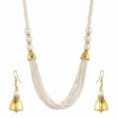 CATALYST Trendy Fashionable Necklace With Earring Set Navratri Jewellery Set For Womens and Girls (White)