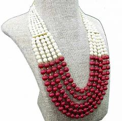 CATALYST Wedding Pearl Multi-Strand Beads Necklace For Women & Girls (Maroon)