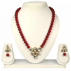 CATALYST Stylish Pearl and Stone Necklace Set With Earrings for Womens & Girls