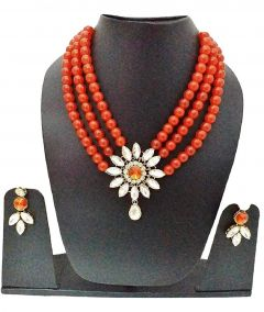 CATALYST Stylish Stone and Pearl Necklace With Earring For Women & Girls (Red)