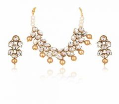 CATALYST Stone and Pearl Necklace With Earrings For Womens & Girls