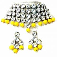 CATALYST Stylish Stone Choker Necklace With Earring For Women & Girls (Yellow)