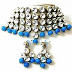 CATALYST Stylish Stone Choker Necklace With Earring For Women & Girls (Blue)