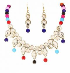 CATALYST Stylish Stone and Pearl Necklace With Earring For Women & Girls (Multi-Color)