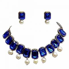 CATALYST Gold Plated Stylish Stones Studded Necklace Set with Earrings For Girls & Women (Blue)