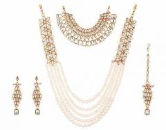 CATALYST Designer and Stylish Pearl Necklace Set With Choker Set, Earrings & Mang Tikka For Women (White)