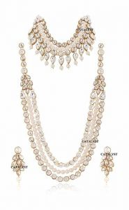 CATALYST Traditional Designer Stylish Pearl Necklace Set With Choker Set and Earrings (White)
