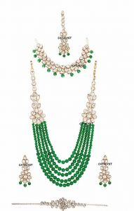 CATALYST Stone and Pearl Long Necklace Rani Haar With Earrings Mang Tika & Bracelet For Womes (Green)