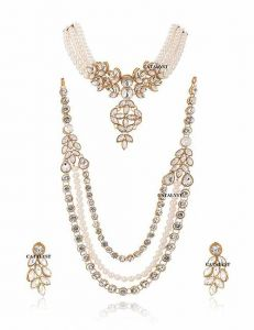 CATALYST Stylish  Pearl Stone Choker and Necklace With Earring For Women & Girls (White)