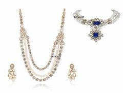CATALYST Traditional and Stylish Pearl Stone Choker and Necklace With Earring For Womens & Girls