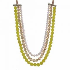 CATALYST Designer and Stylish Pearl Necklace Jewellery Set With Earrings For Womens (Pista Green)