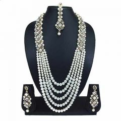 CATALYST Stylish Pearl Stone Necklace With Earring and Maang Tikka For Women & Girls (White)