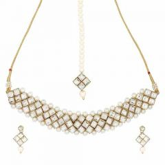 CATALYST Pearl Fashion Choker Necklace Jewellery Set With Earrings For Womens (White)