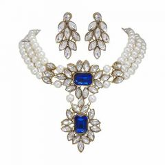 CATALYST Pearl Fashionable Choker Necklace Jewellery Set With Earrings For Womens (Blue)