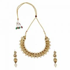 CATALYST Gold-Plated Fashionable Choker Necklace Jewellery Set With Earrings For Womens (Golden)