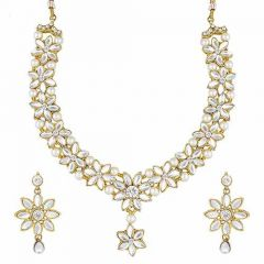 CATALYST Stylish Pearl Necklace Jewellery Set With Earrings For Womens (White)