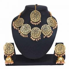 CATALYST Stylish Gold Plated Necklace With Earring and Maang Tikka For Women & Girls (Golden)