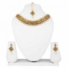 CATALYST Gold-Plated Pearl kundan Choker Necklace Jewellery Set With Earrings For Womens (Golden)
