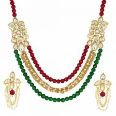 CATALYST Stylish Pearl Necklace Jewellery Set With Earrings For Womens (Multi-Color)