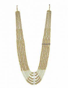 CATALYST Designer Pearl Wedding Necklace Moti For Groom & Mens (Golden) (15 cm)