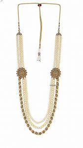 CATALYST Designer Pearl Wedding Necklace Moti For Groom & Mens (White) (3 cm)
