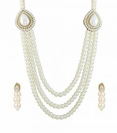 CATALYST Stylish Simulated Pearl Necklace Jewellery Set With Earrings For Womens (White)
