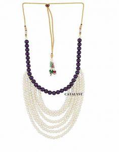 CATALYST Designer Golden Pearl Wedding Necklace Moti For Groom & Mens (White & Blue) (23 cm)